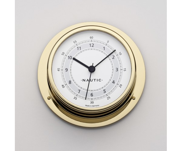 Clock brass polished case dial 83 mm