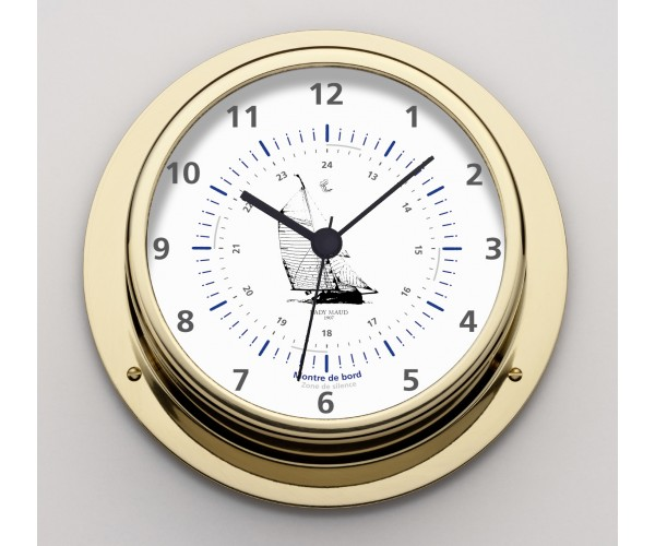 Clock  case brass polished dial 100mm